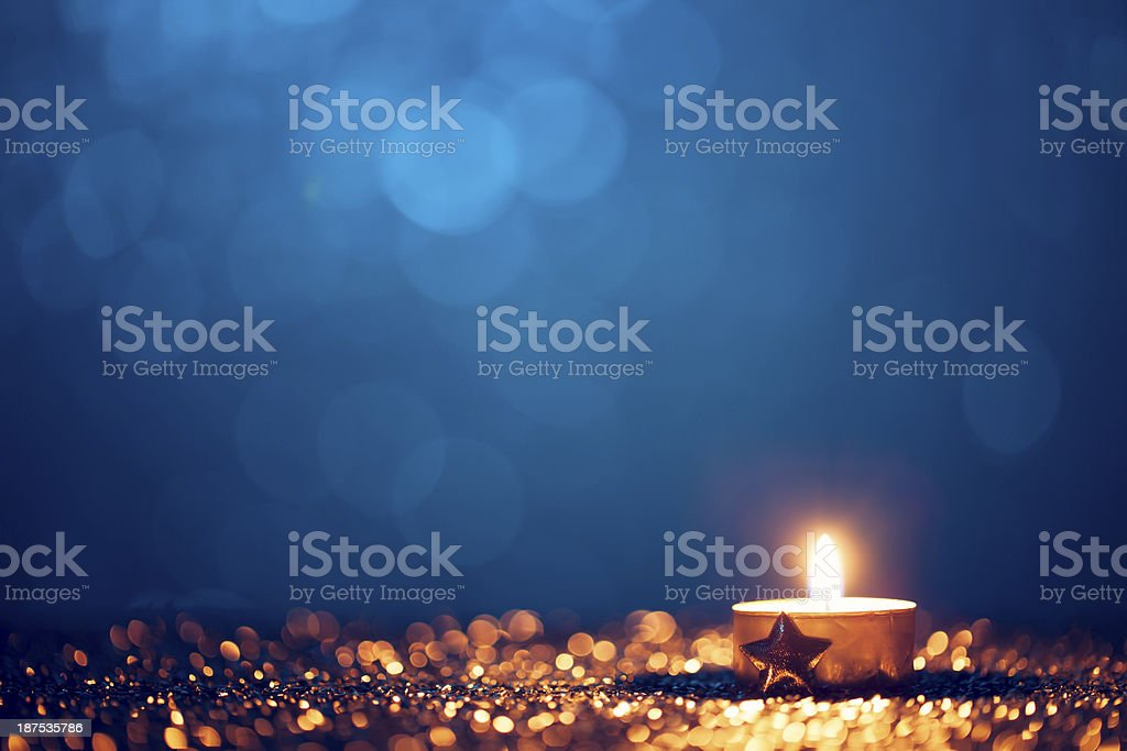 Christmas Tea Light - Candle Bokeh Defocused Decoration Gold royalty-free stock photo