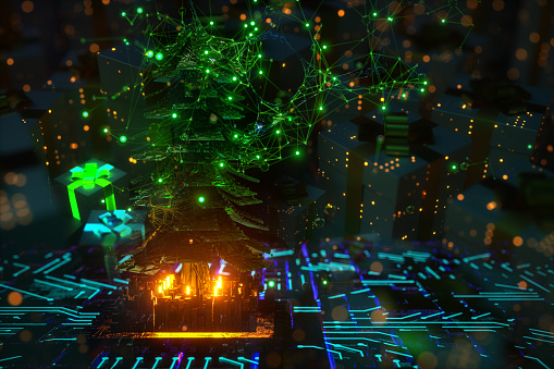 Christmas tree technology backgrounds. during  covid-19