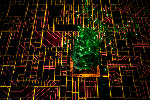 Christmas tree techonology backgrounds.during  2019-nCoV