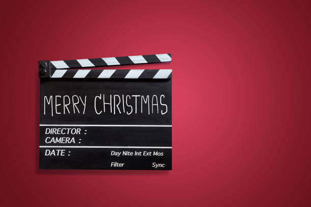 titolo del testo di natale sul film clapper board - christmas movie foto e immagini stock