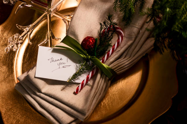 Christmas Thank you note words on Holiday greeting stock photo
