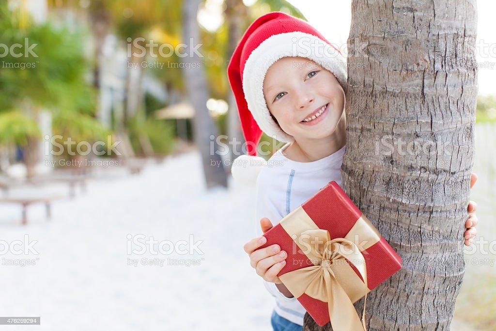 christmas theme at the beach stock photo