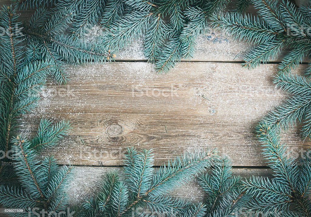 Christmas (New Year) theme background: a frame of fur-tree branc stock photo