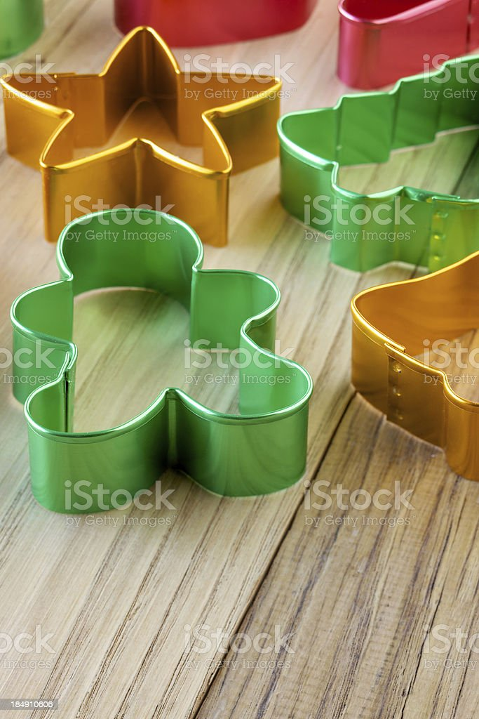 Christmas theme cookie cutters royalty-free stock photo