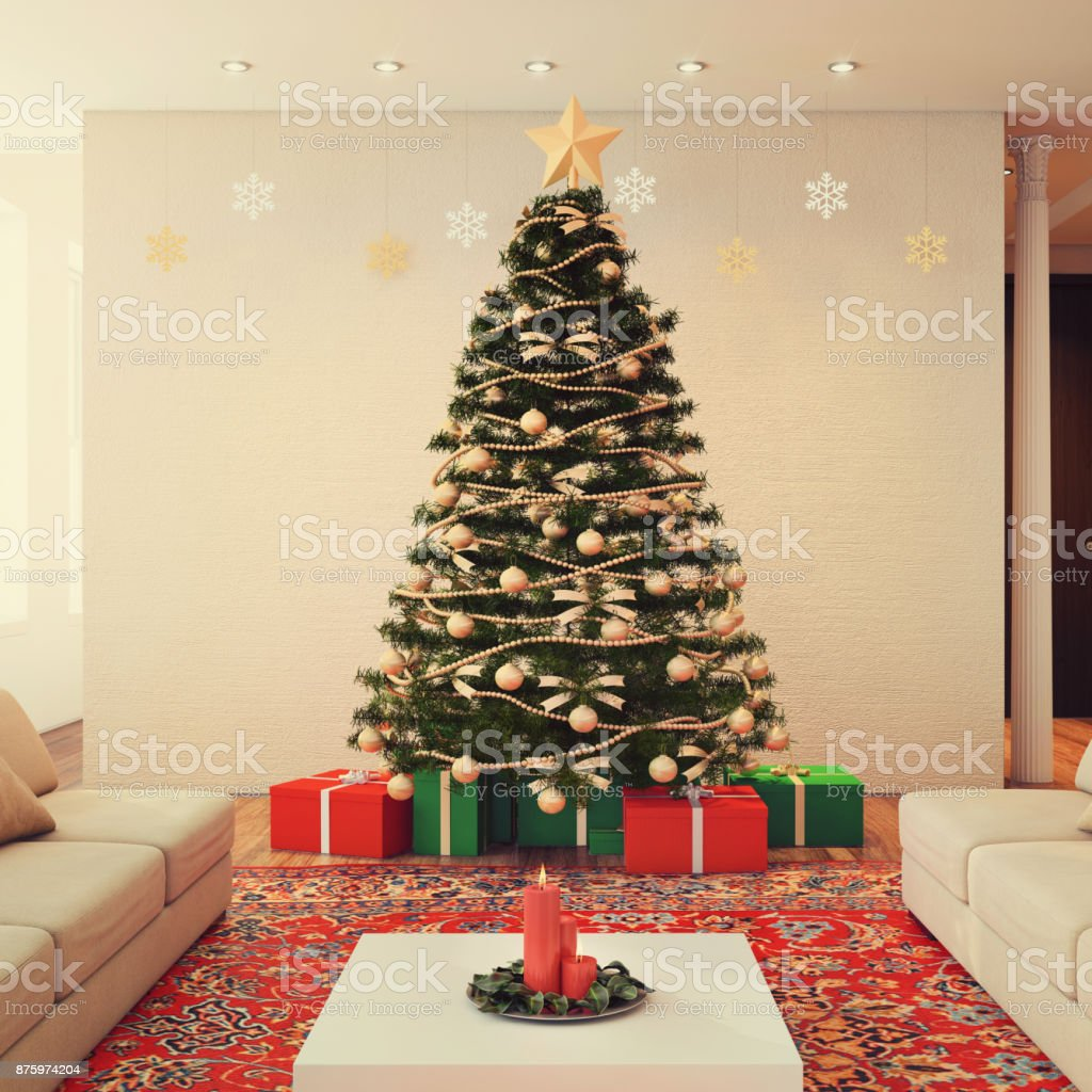 Large decorated Christmas tree in the living room of an apartment,...