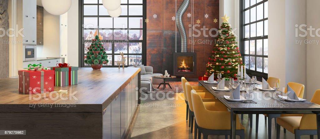 Christmas theme decorated apartment interior stock photo
