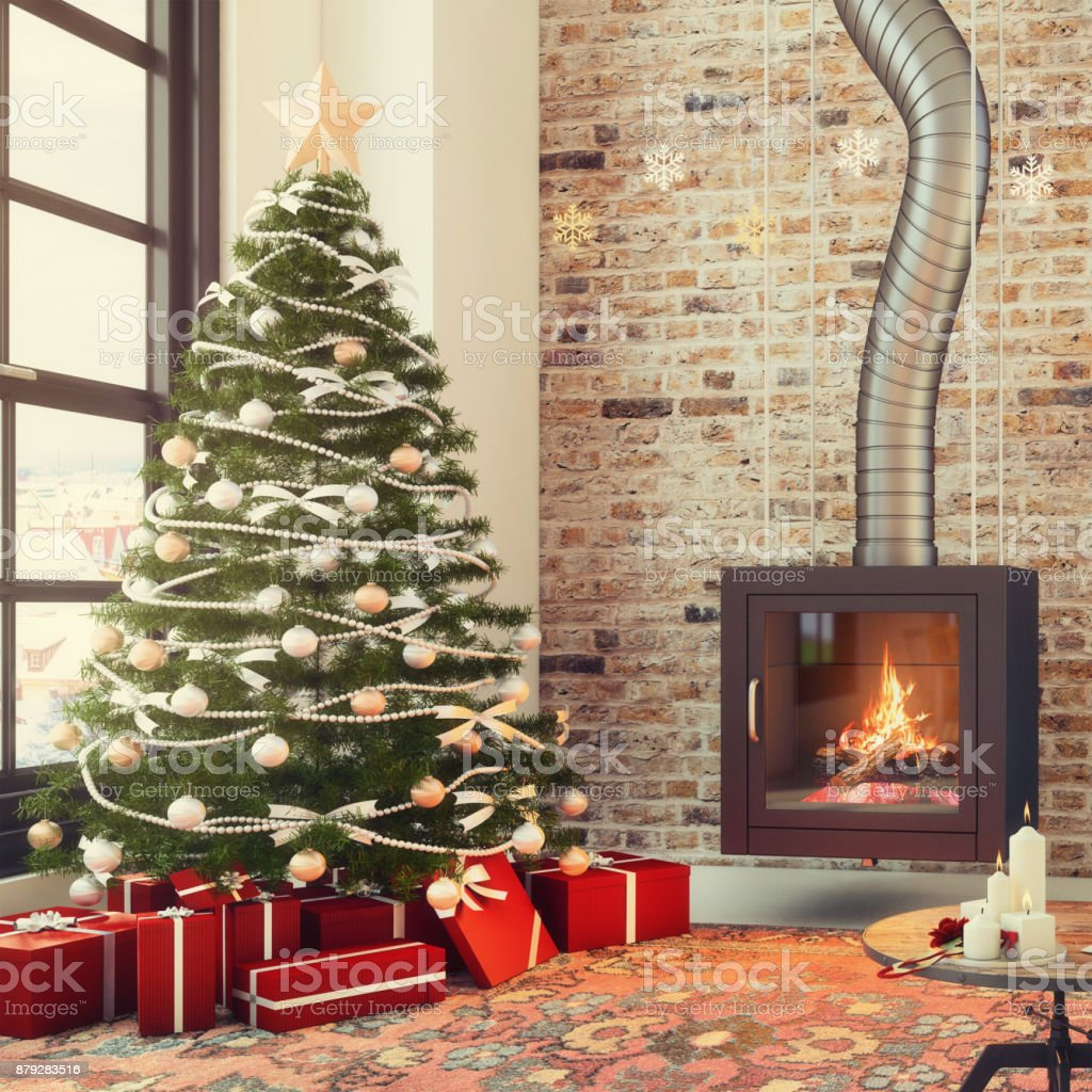 Living room apartment interior with large Christmas tree, brick wall...