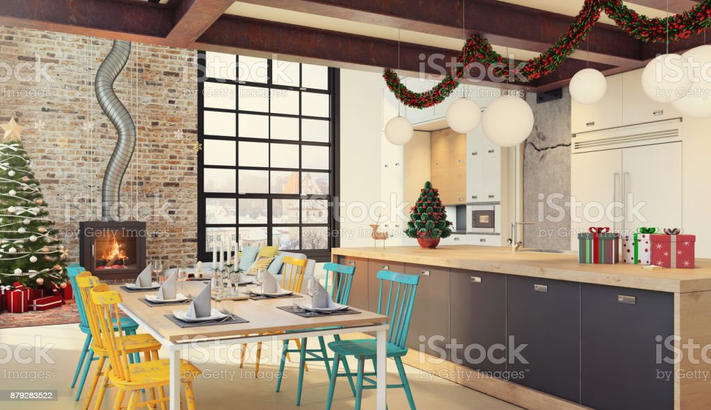 Christmas themed apartment interior, living room and dining room with...