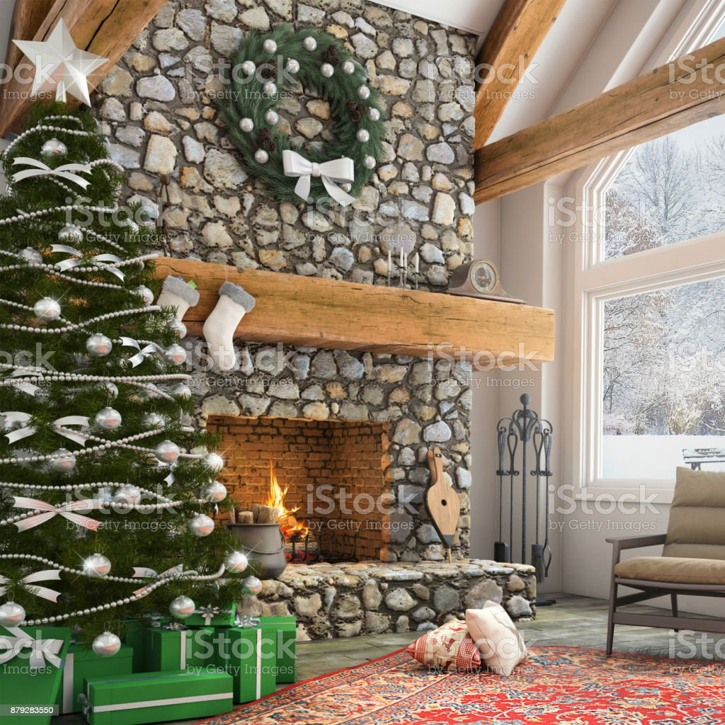 Large stone fireplace with Christmas tree and ornaments, armchair,...