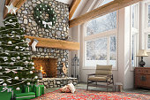Large stone fireplace with Christmas tree and ornaments, armchair, large windows and garland. Holiday decoration copy space template background