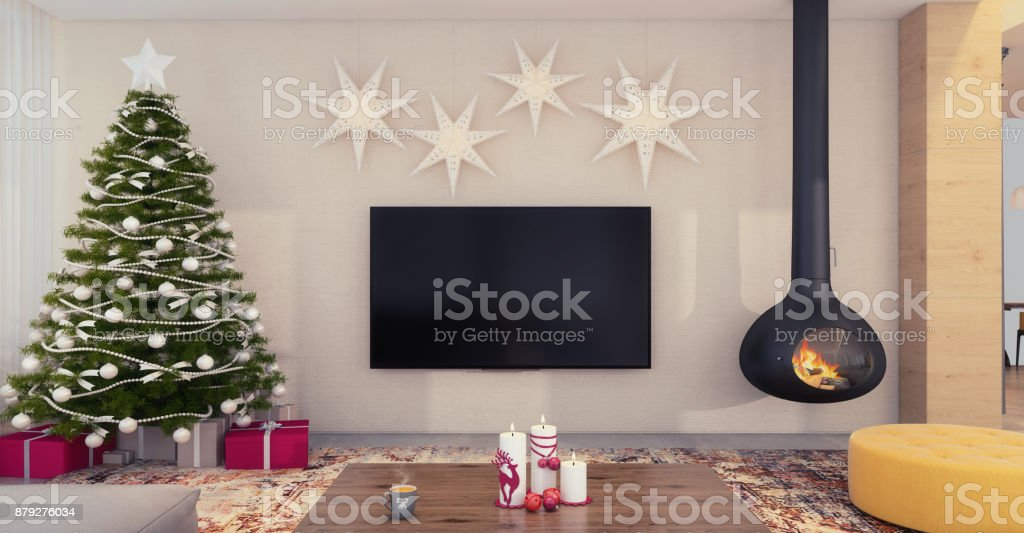 Christmas theme decorated apartment interior with TV set stock photo