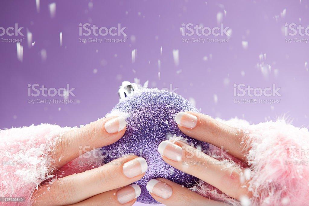 Christmas theme manicure stock photo