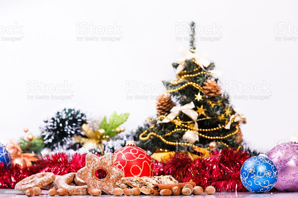 Christmas theme of cookies, christmas balls and decorations....