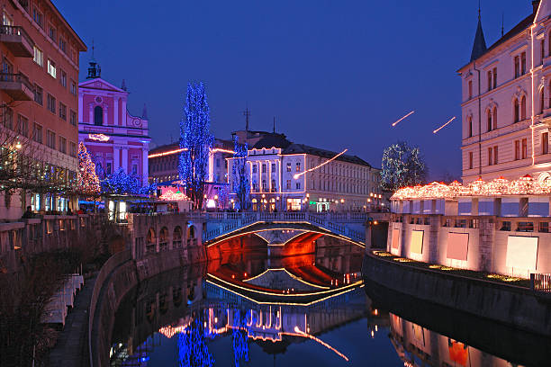 Christmas three bridges  ljubljanica river stock pictures, royalty-free photos & images