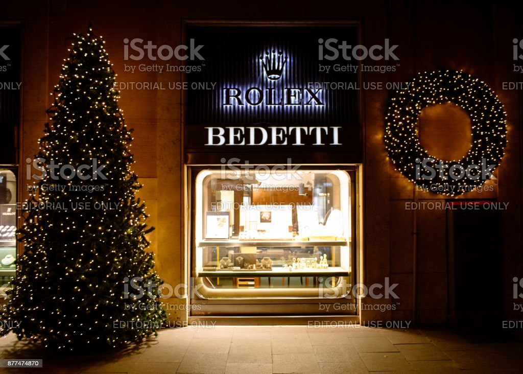 Christmas Time At Bedetti Store Rome Italy stock photo