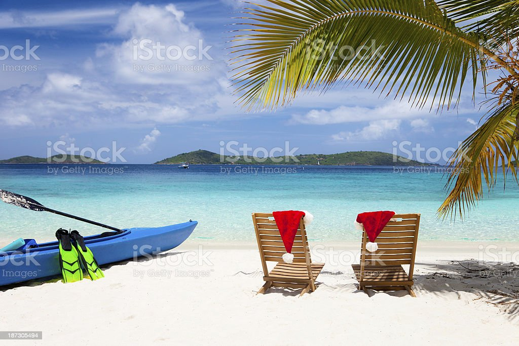Christmas time at the Caribbean beach royalty-free stock photo