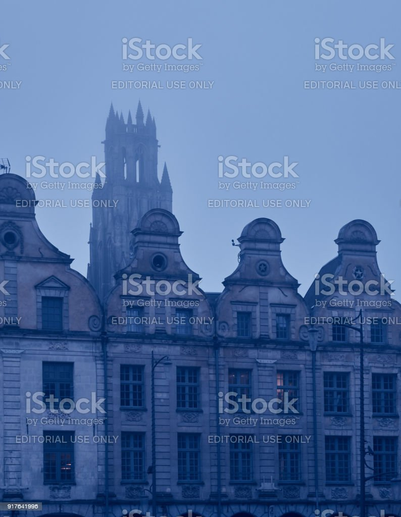 Christmas time at the main square in Arras, France stock photo