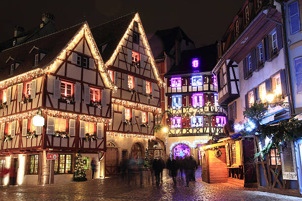 Christmas time in Alsace Christmas in Alsace in the city of Colmar strasbourg stock pictures, royalty-free photos & images