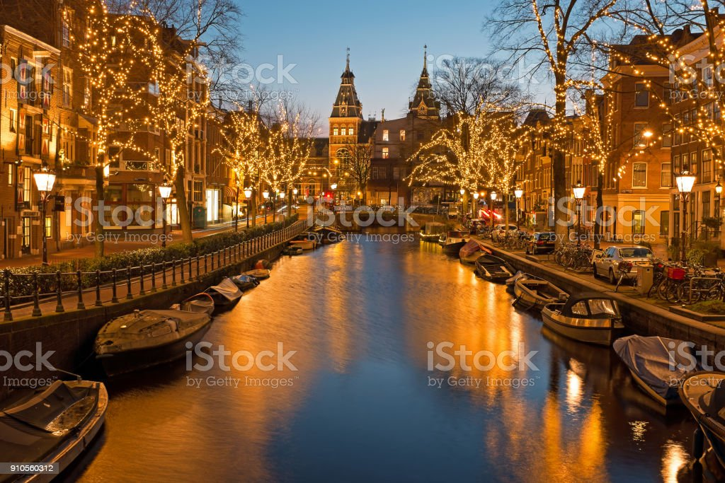 Christmas time in Amsterdam stock photo