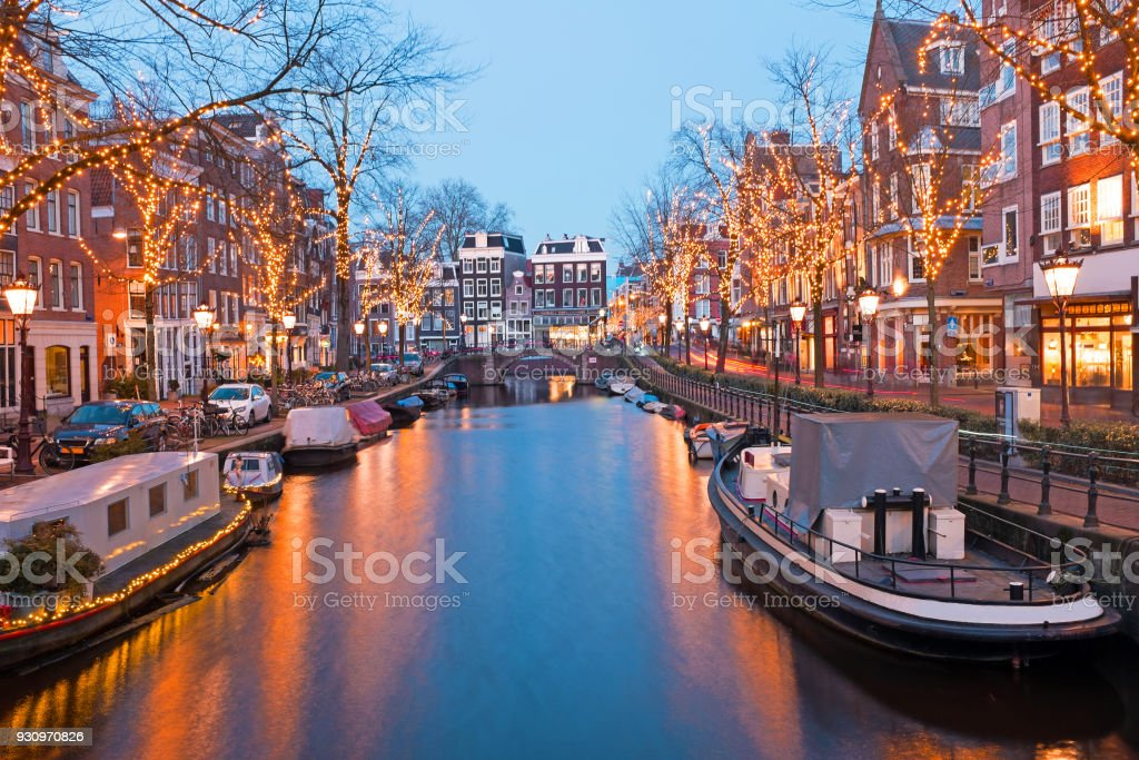 Christmas time in Amsterdam the Netherlands at dusk stock photo