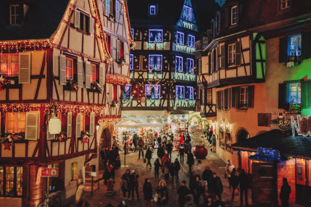 Christmas time in Colmar, Alsace, France Old town illuminated and decorate like a fairy tale in Christmas festive season in Colmar, Alsace, France strasbourg stock pictures, royalty-free photos & images