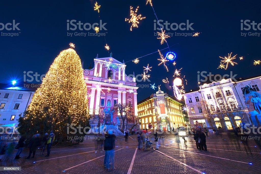 Christmas time in Ljubljana stock photo