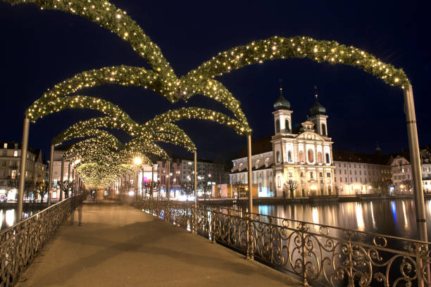 christmas time in lucerne - lucerne stock pictures, royalty-free photos & images