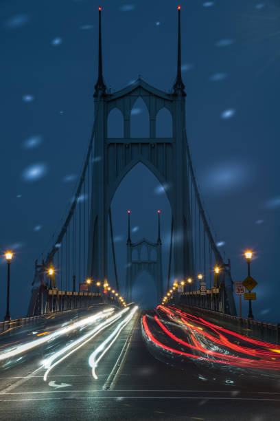 Christmas time in Portland Oregon with commuters on the St Johns Bridge stock photo