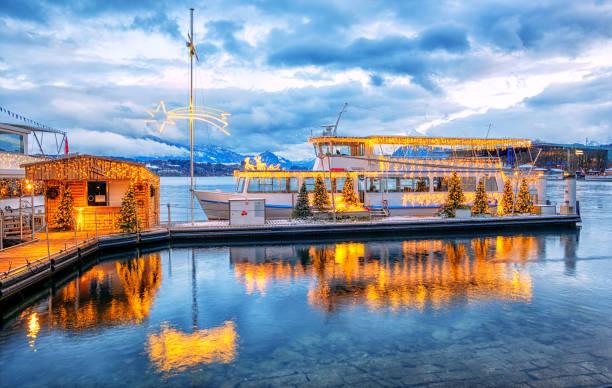 Christmas time on Lake Lucerne, Switzerland stock photo
