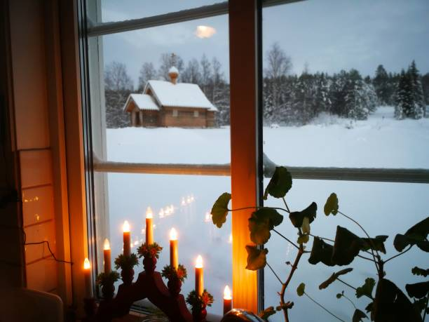 Christmas time, orthodox church stock photo