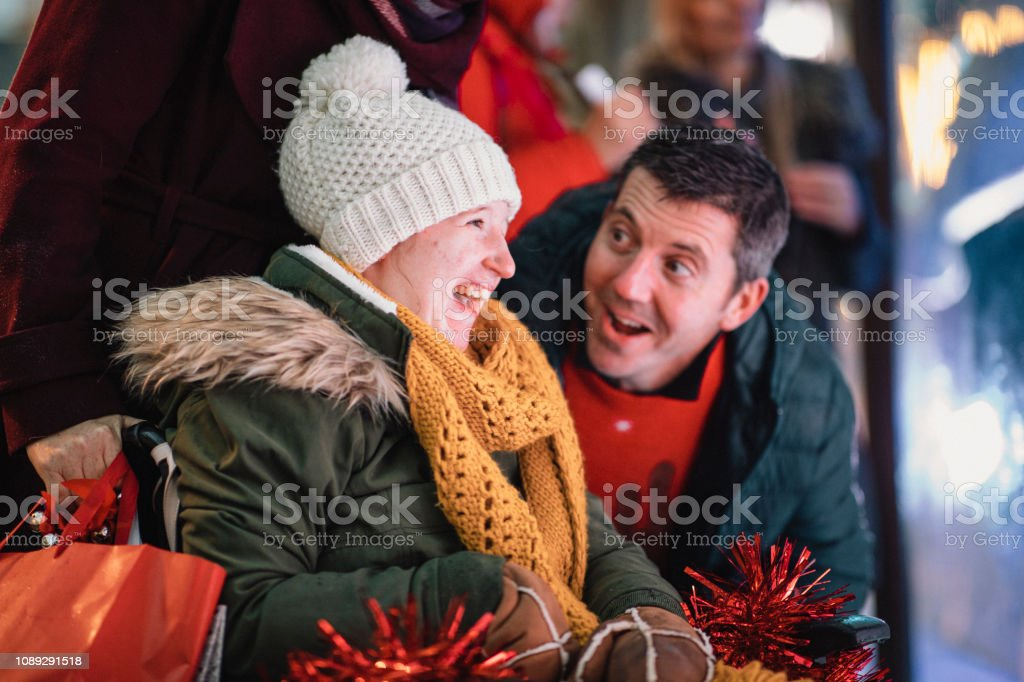 Christmas Time with Father and Daughter stock photo