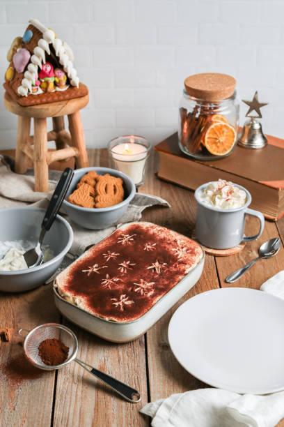 Christmas Tiramisu with Gingerbread, Spekulatius and hot chocolate stock photo