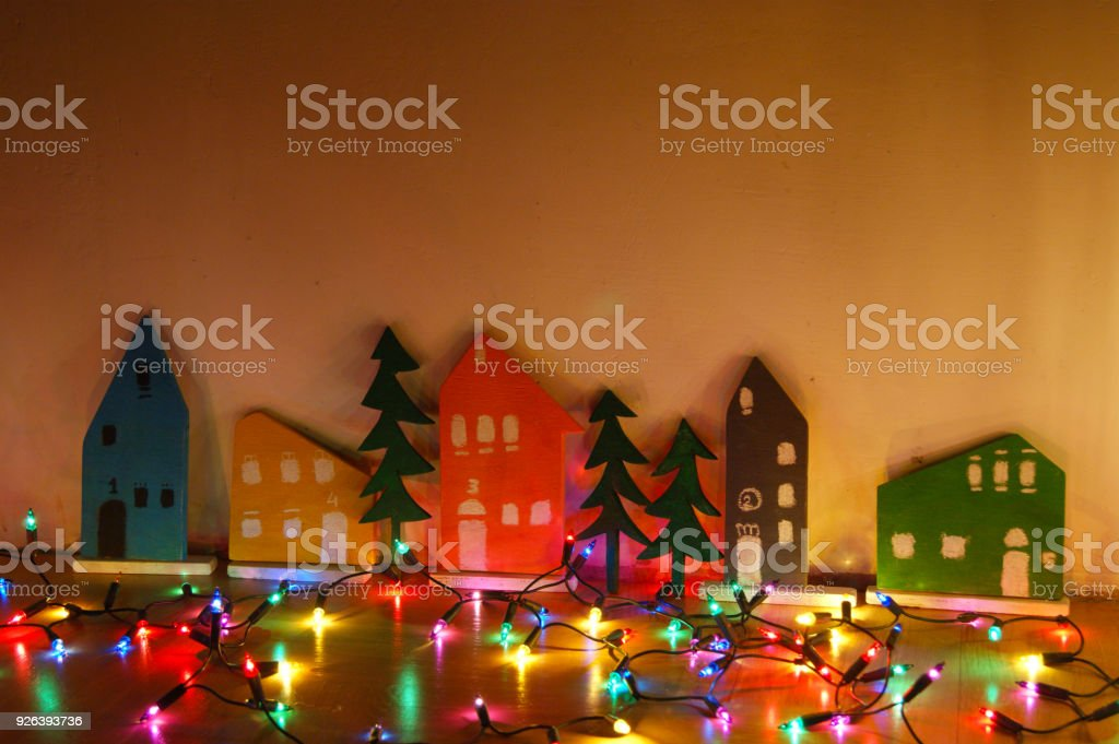 Christmas town of wood and lights of the garland
