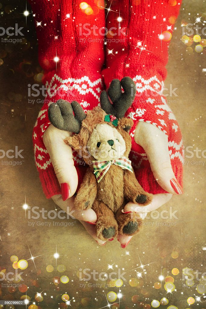 Christmas toy bear  in woman hands royaltyfri bildbanksbilder