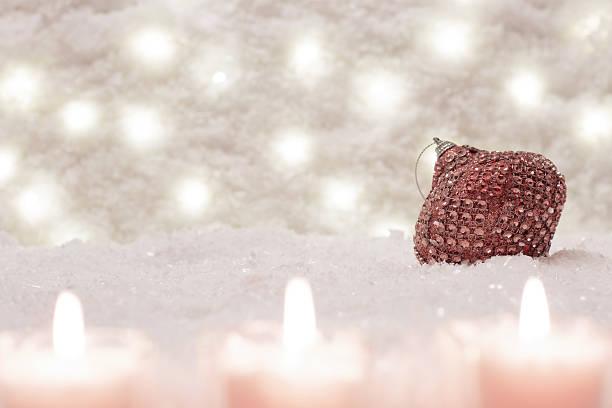 christmas toy is in the snow. - weihnachtsspende stock-fotos und bilder