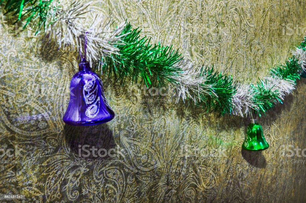 Christmas Toy on the Christmas tree. New year ornaments winter background for postcard empty space. New Year eve background stock photo