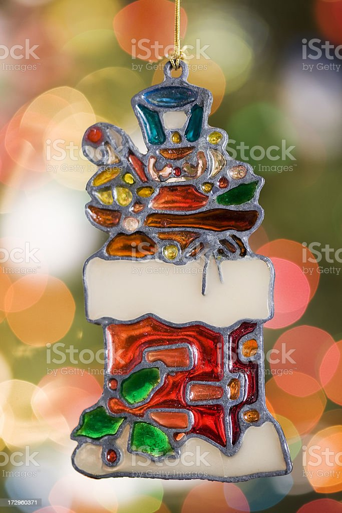 Christmas Toy Soldier Ornament with Tree Lights, Copy Space stock photo