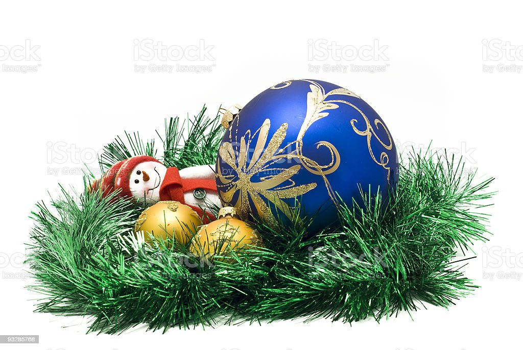 Christmas toy with three colorful New Year decoration Balls royalty-free stock photo