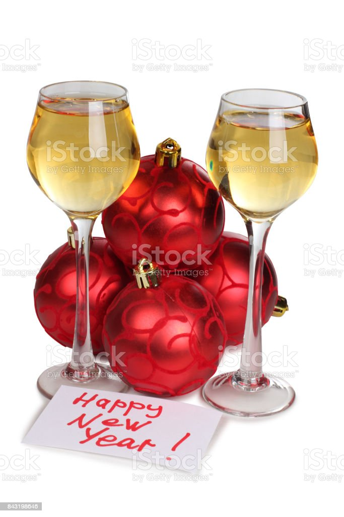 Christmas toys and wineglasses stock photo