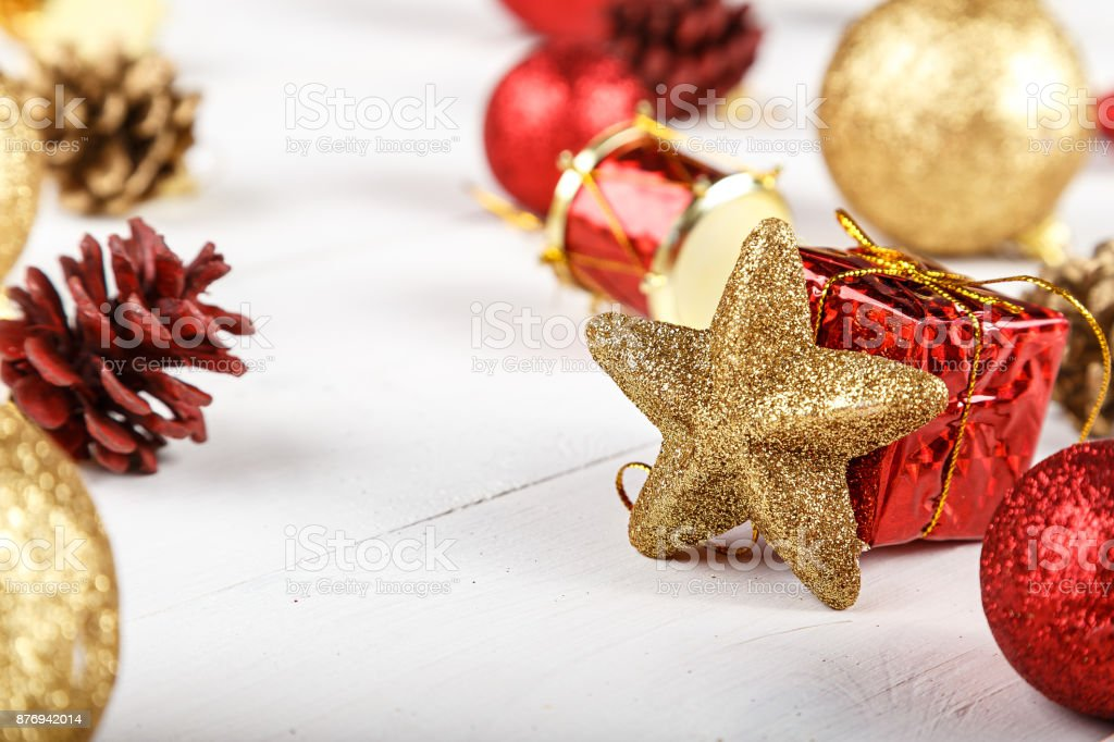 Christmas toys background for a Christmas card, Christmas wallpapers stock photo