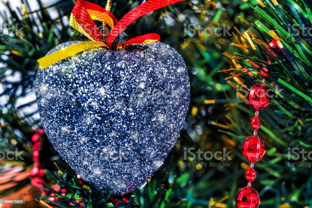 Christmas Toys In The Form Of A Silver Heart Stock Photo Download Image Now Istock
