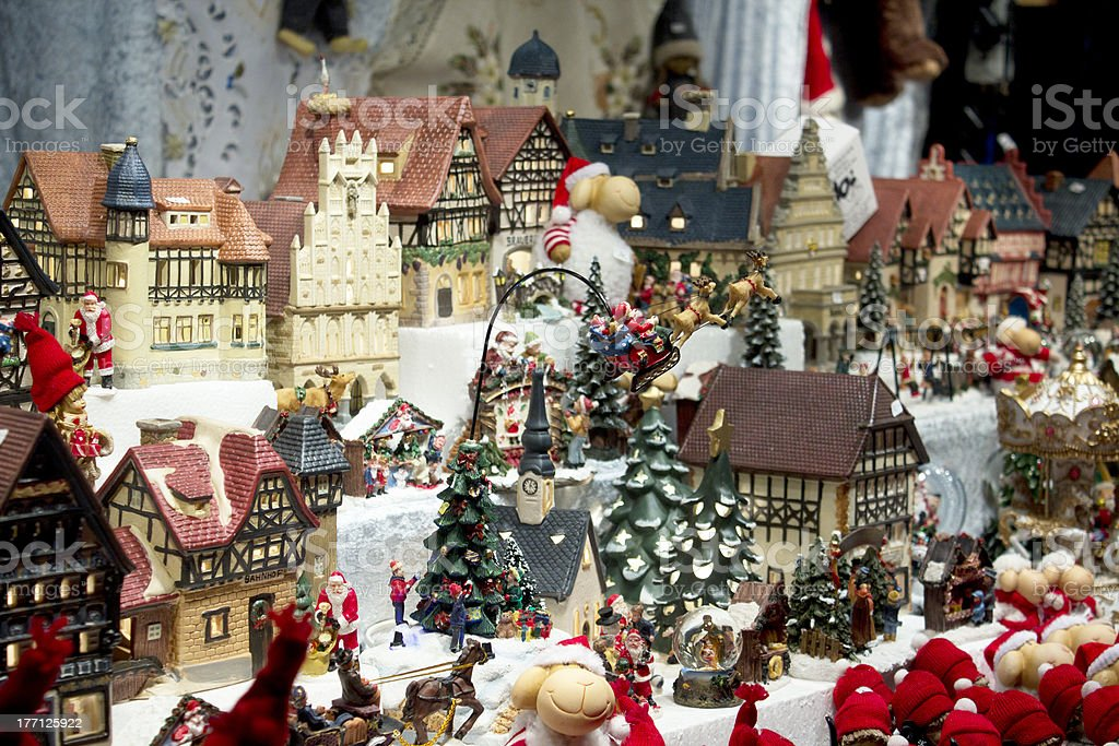 Christmas (new year) toys in the market stock photo