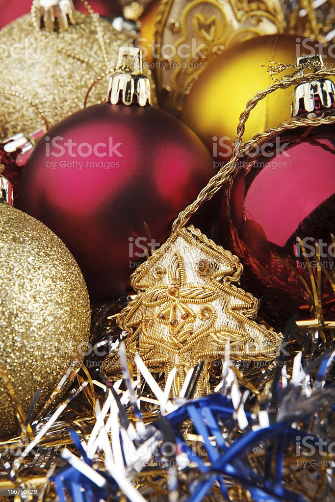 Christmas toys on the background of garlands royalty-free stock photo