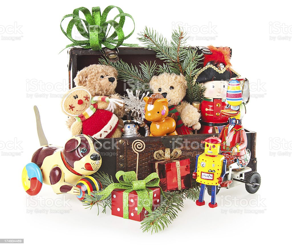 Christmas Toys With Teddy Bear and Ornaments stock photo