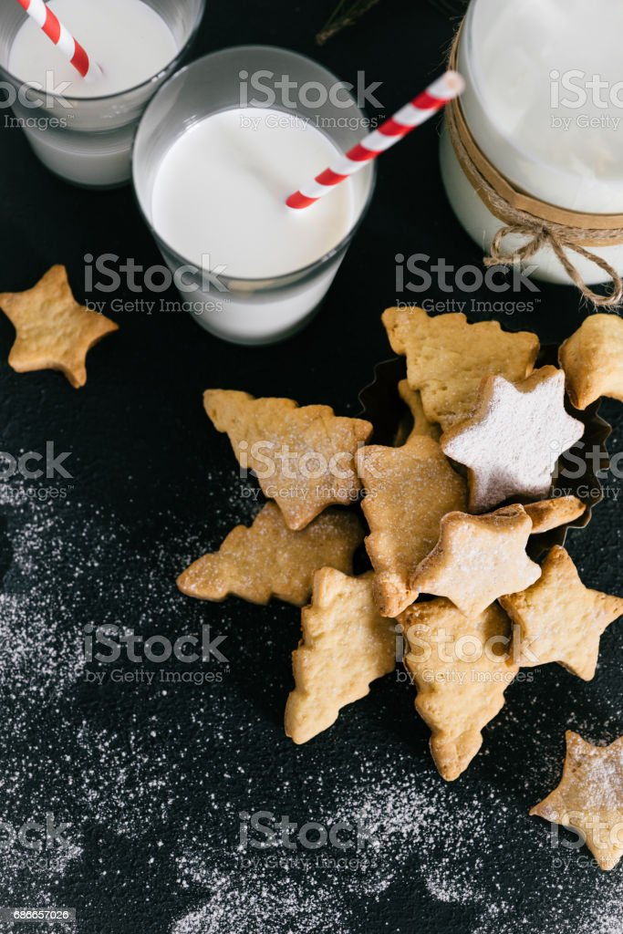 Christmas traditional cookies with milk on the table royalty-free stock photo