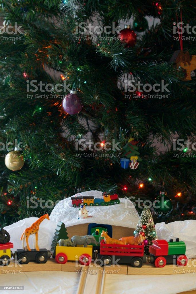Christmas train set and animals royalty-free stock photo