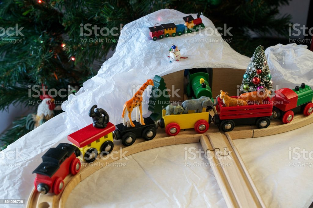 Christmas train set with African animals royalty-free stock photo