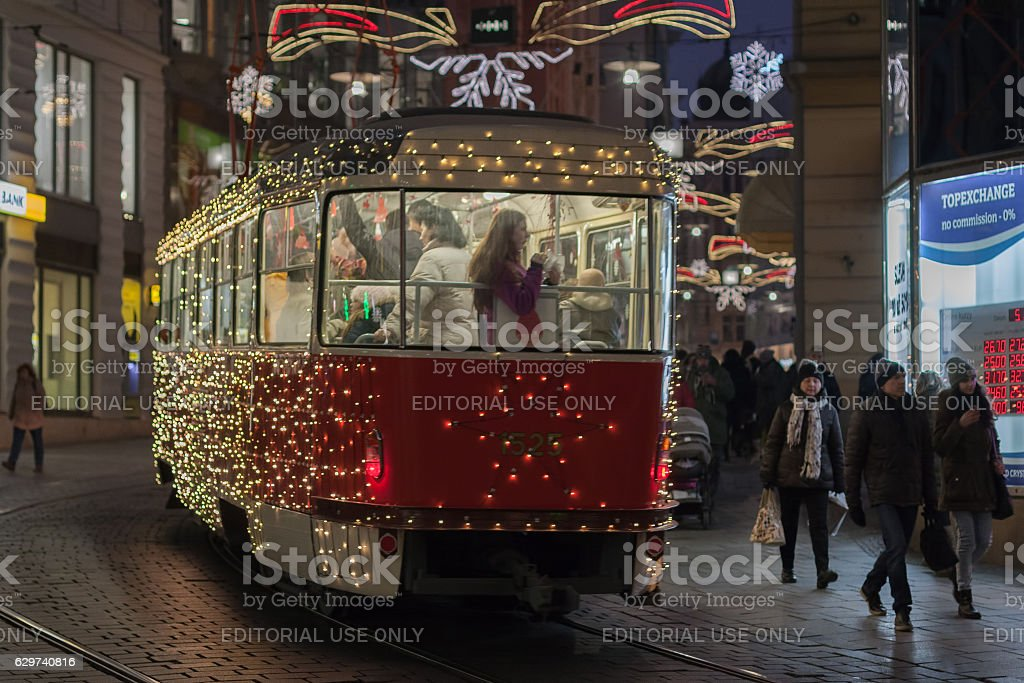 Christmas tram at Masaryk street in Brno stock photo