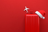 3d rendering of Christmas travel concept. Red background. Winter travel season.