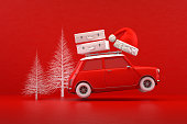 3d rendering of Christmas Travel Holiday Concept, Red Car, Red Background.